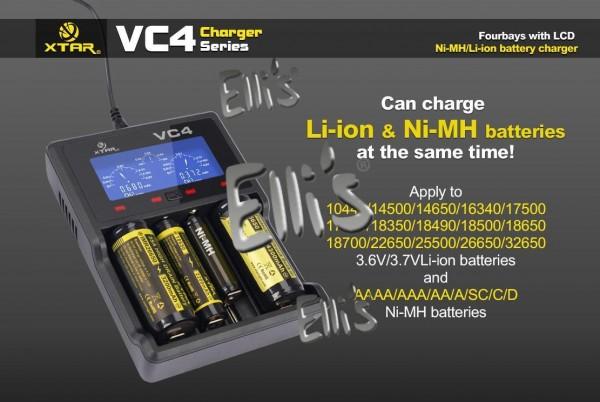 Xtar VC4 - Ladegerät für Li-Ion 3,6V - 3,7V und NIMH Akkus + USB-Kabel